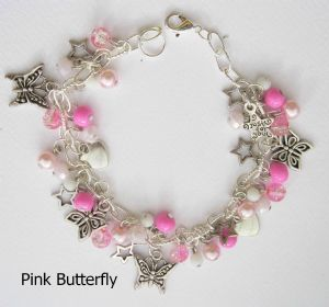 Pink Butterfly Bead and Charm Bracelet - (30 beads and 13 charms)